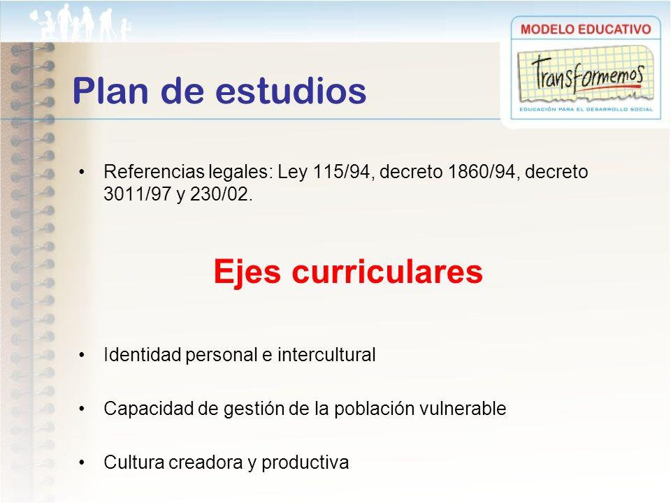 Plan de estudios Referencias legales: Ley 115/94, decreto 1860/94, decreto 3011/97 y 230/02. Ejes curriculares Identidad personal e intercultural Capa