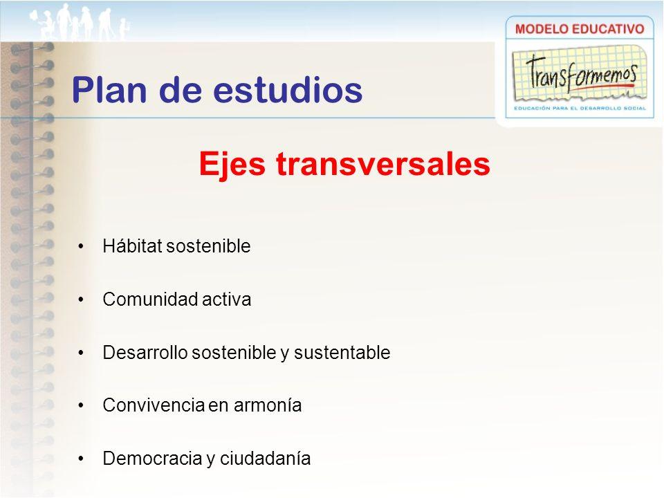 Plan de estudios Ejes transversales Hábitat sostenible Comunidad activa Desarrollo sostenible y sustentable Convivencia en armonía Democracia y ciudad