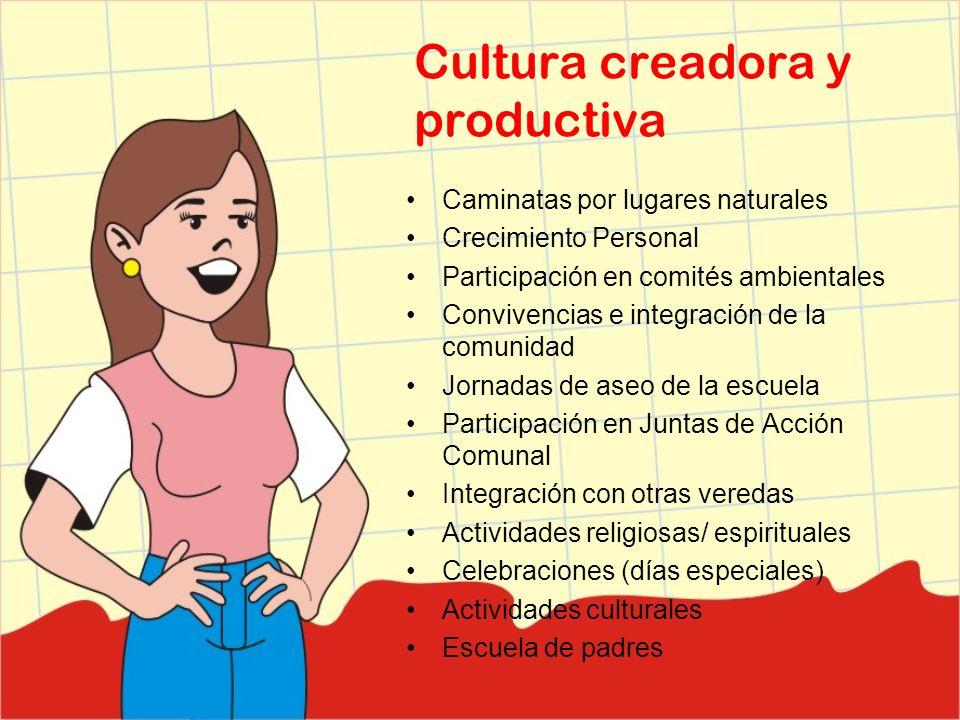 Cultura creadora y productiva Caminatas por lugares naturales Crecimiento Personal Participación en comités ambientales Convivencias e integración de