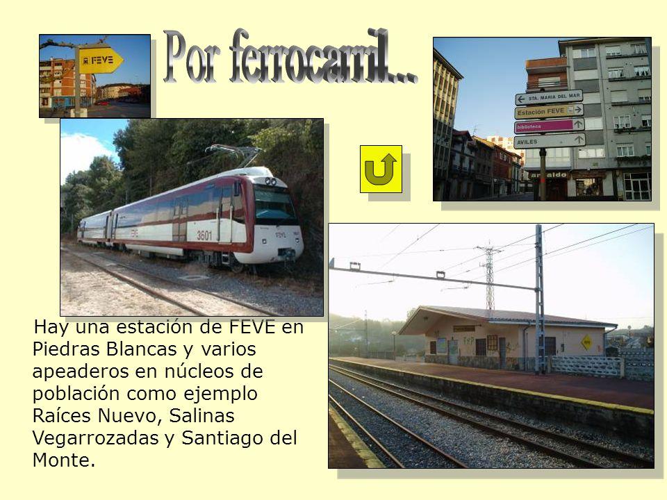 Hay una estación de FEVE en Piedras Blancas y varios apeaderos en núcleos de población como ejemplo Raíces Nuevo, Salinas Vegarrozadas y Santiago del