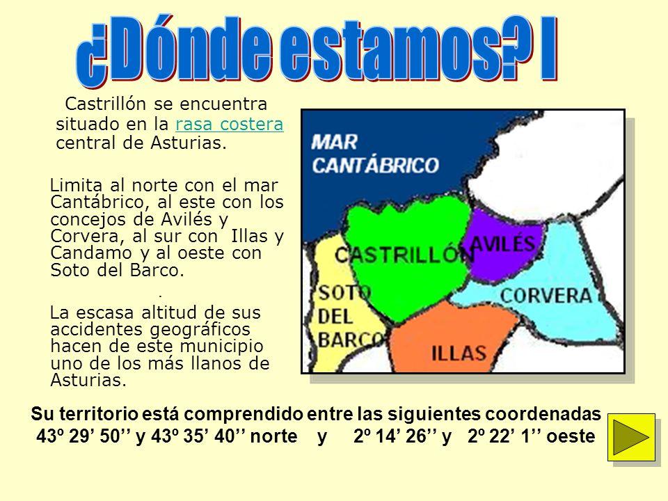 Castrillón se encuentra situado en la rasa costerarasa costera central de Asturias. Limita al norte con el mar Cantábrico, al este con los concejos de