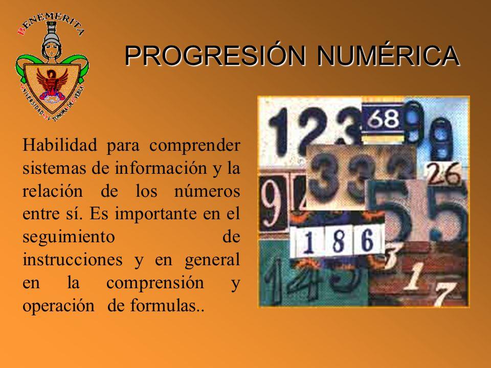 PROGRESIÓN NUMÉRICA Habilidad para comprender sistemas de información y la relación de los números entre sí. Es importante en el seguimiento de instru