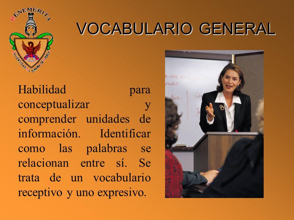 VOCABULARIO GENERAL Habilidad para conceptualizar y comprender unidades de información. Identificar como las palabras se relacionan entre sí. Se trata