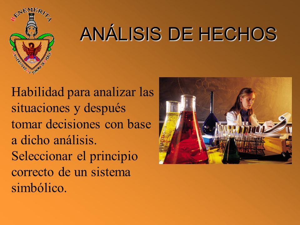 ANÁLISIS DE HECHOS Habilidad para analizar las situaciones y después tomar decisiones con base a dicho análisis. Seleccionar el principio correcto de