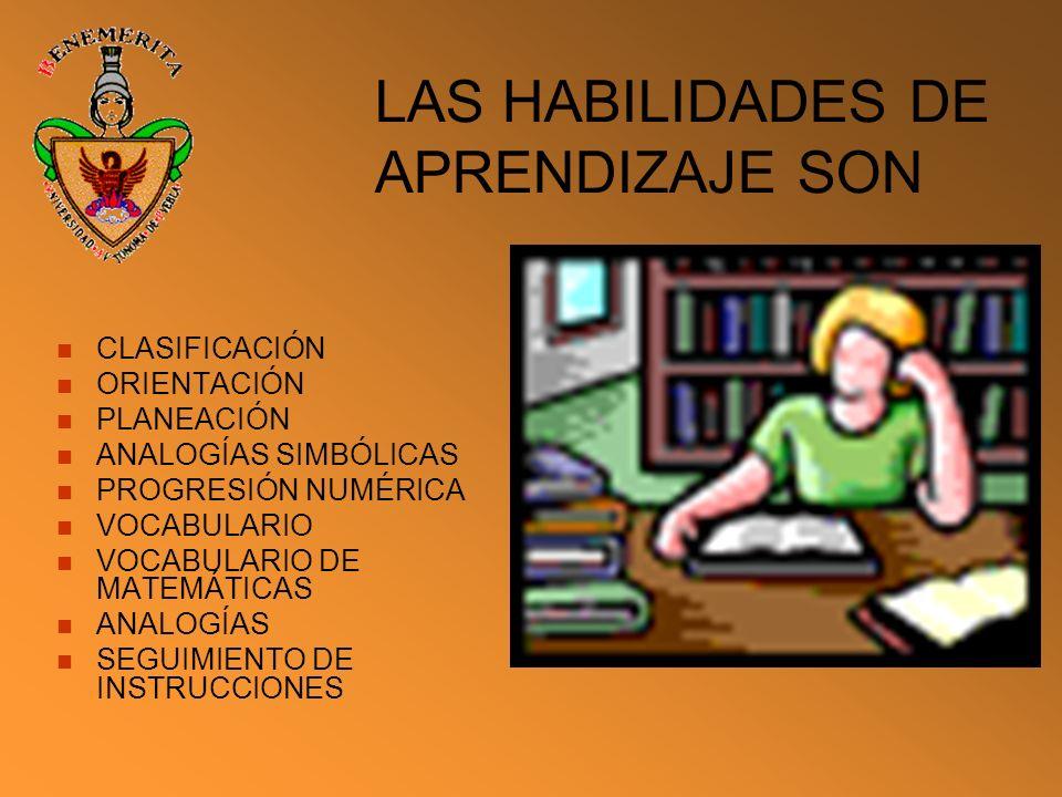LAS HABILIDADES DE APRENDIZAJE SON CLASIFICACIÓN ORIENTACIÓN PLANEACIÓN ANALOGÍAS SIMBÓLICAS PROGRESIÓN NUMÉRICA VOCABULARIO VOCABULARIO DE MATEMÁTICA