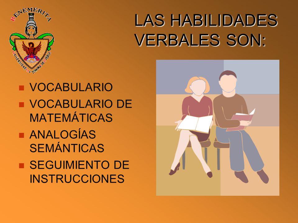 LAS HABILIDADES VERBALES SON: VOCABULARIO VOCABULARIO DE MATEMÁTICAS ANALOGÍAS SEMÁNTICAS SEGUIMIENTO DE INSTRUCCIONES