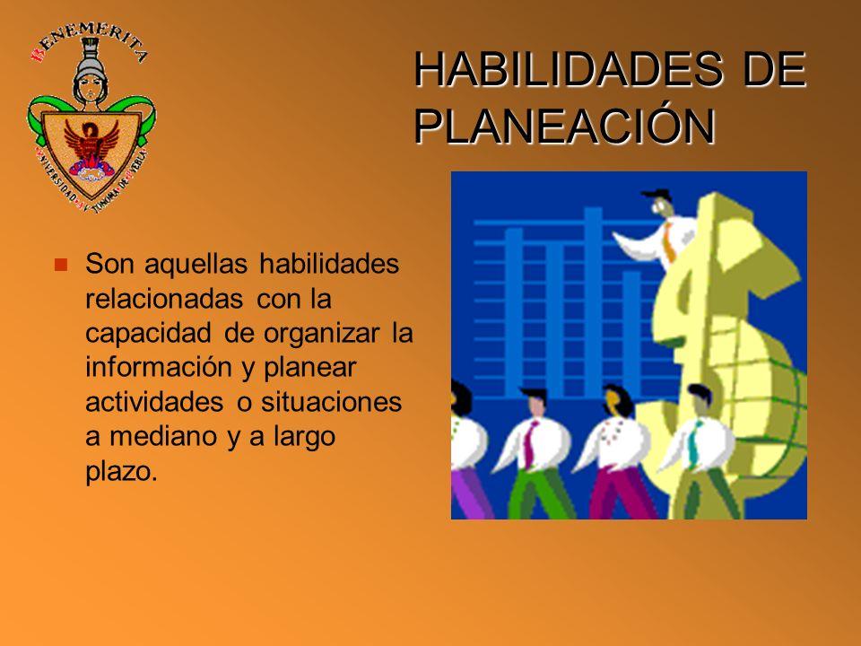 HABILIDADES DE PLANEACIÓN Son aquellas habilidades relacionadas con la capacidad de organizar la información y planear actividades o situaciones a med