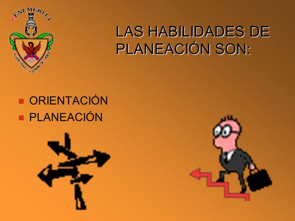 LAS HABILIDADES DE PLANEACIÓN SON: ORIENTACIÓN PLANEACIÓN