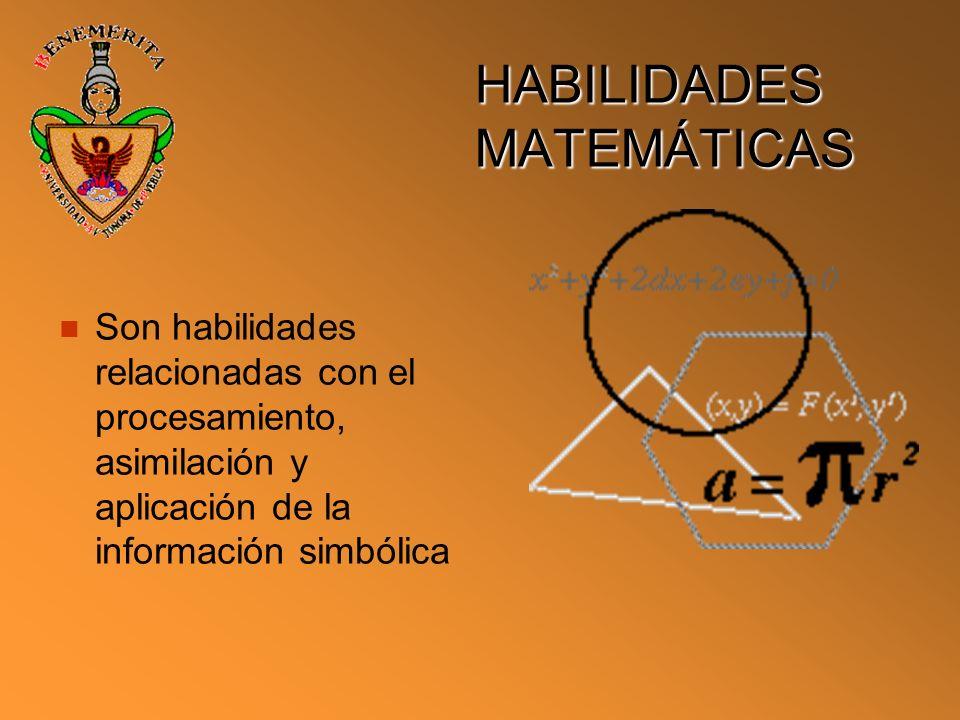 HABILIDADES MATEMÁTICAS Son habilidades relacionadas con el procesamiento, asimilación y aplicación de la información simbólica