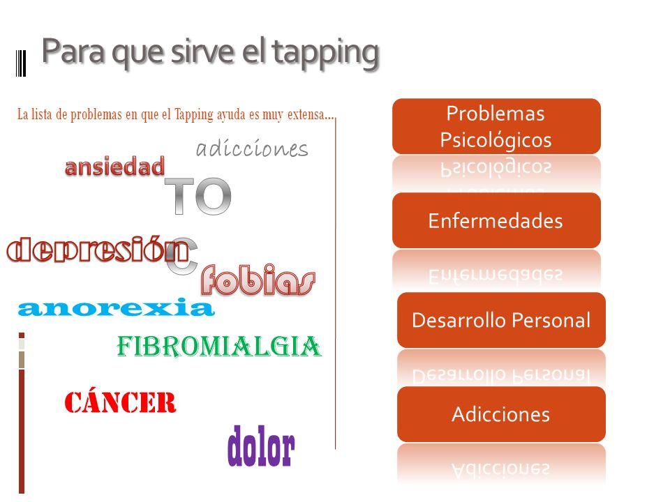 Para que sirve el tapping La lista de problemas en que el Tapping ayuda es muy extensa… adicciones fibromialgia dolor anorexia cáncer