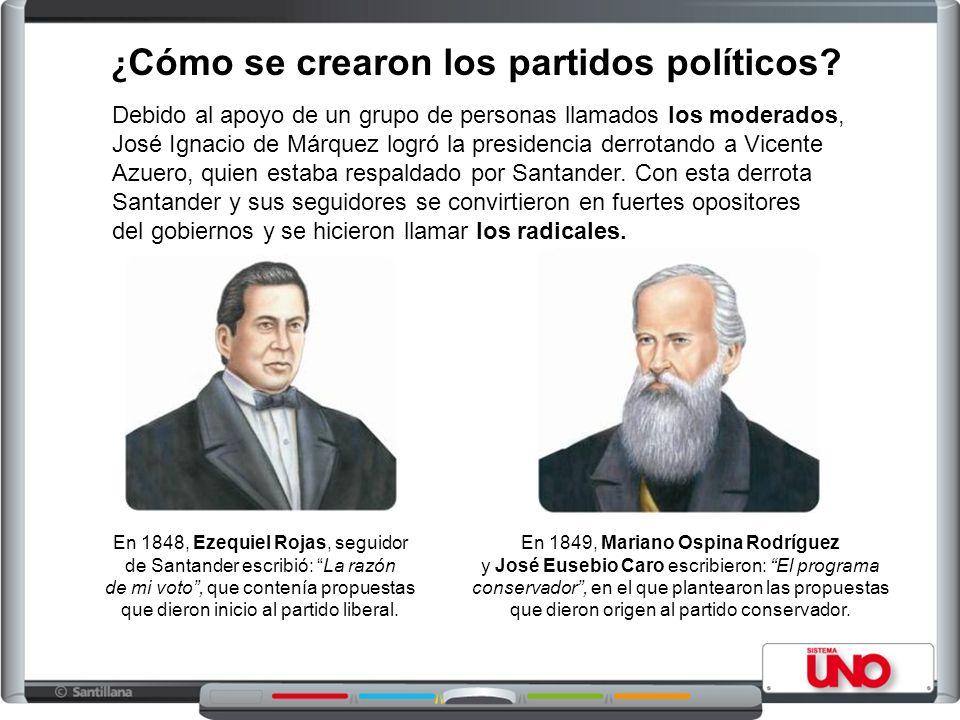 ¿ Cómo se crearon los partidos políticos? Debido al apoyo de un grupo de personas llamados los moderados, José Ignacio de Márquez logró la presidencia