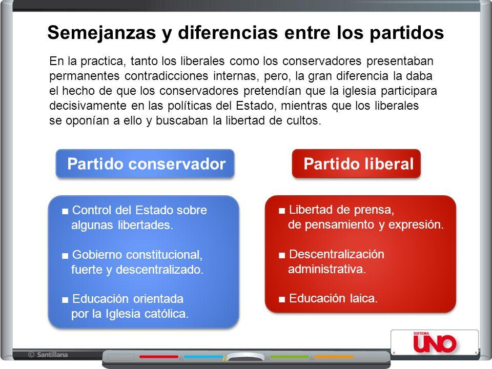 Semejanzas y diferencias entre los partidos En la practica, tanto los liberales como los conservadores presentaban permanentes contradicciones interna