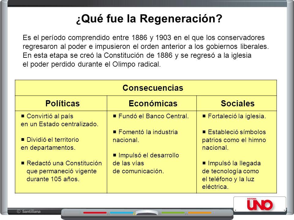 ¿ Qué fue la Regeneración? Es el período comprendido entre 1886 y 1903 en el que los conservadores regresaron al poder e impusieron el orden anterior