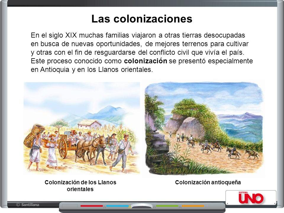 Las colonizaciones En el siglo XIX muchas familias viajaron a otras tierras desocupadas en busca de nuevas oportunidades, de mejores terrenos para cultivar y otras con el fin de resguardarse del conflicto civil que vivía el país.