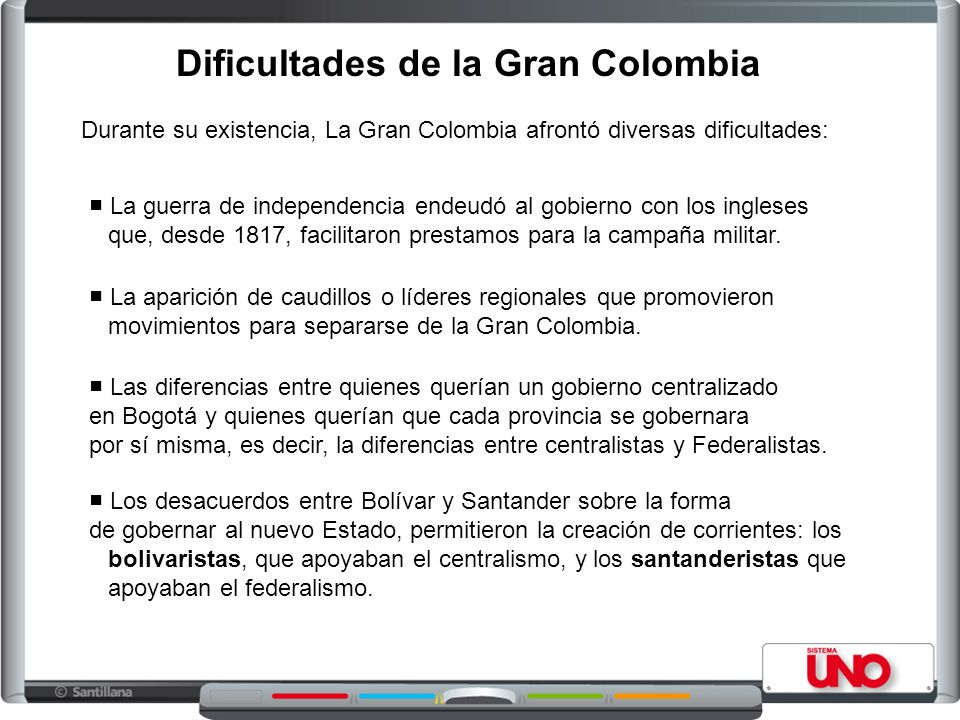 Durante su existencia, La Gran Colombia afrontó diversas dificultades: La aparición de caudillos o líderes regionales que promovieron movimientos para