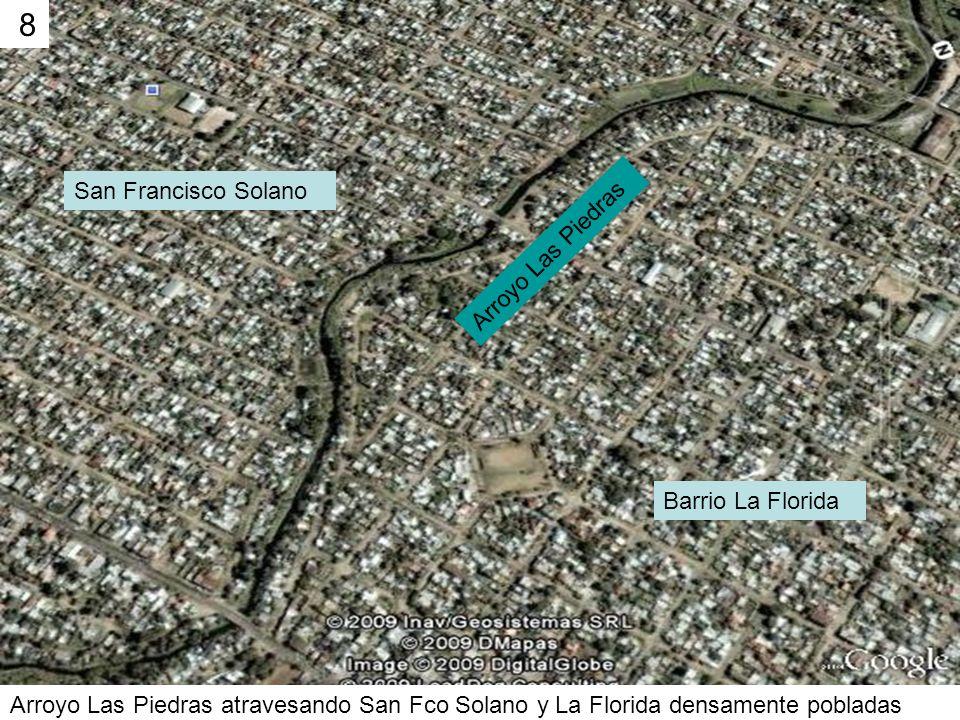 Arroyo Las Piedras atravesando San Fco Solano y La Florida densamente pobladas 8 San Francisco Solano Barrio La Florida Arroyo Las Piedras