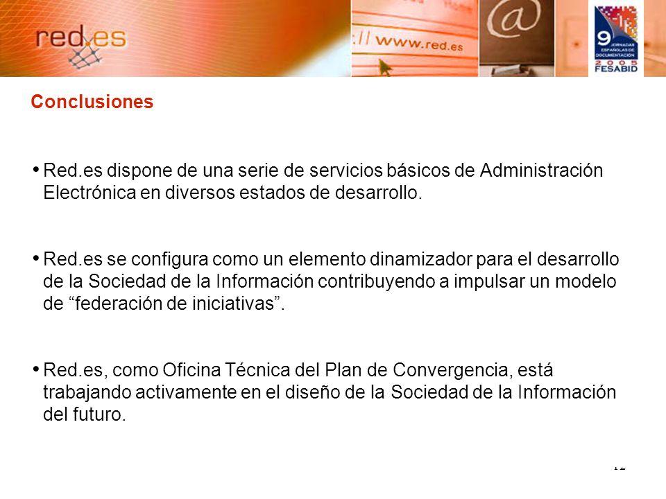 12 Conclusiones Red.es dispone de una serie de servicios básicos de Administración Electrónica en diversos estados de desarrollo.
