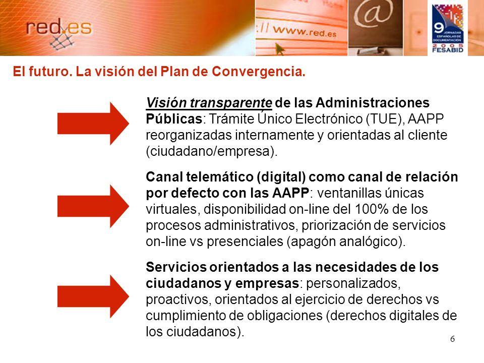 6 Visión transparente de las Administraciones Públicas: Trámite Único Electrónico (TUE), AAPP reorganizadas internamente y orientadas al cliente (ciudadano/empresa).