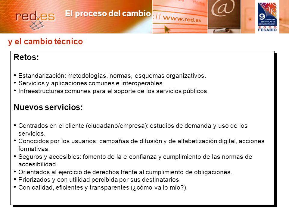 8 y el cambio técnico Retos: Estandarización: metodologías, normas, esquemas organizativos.