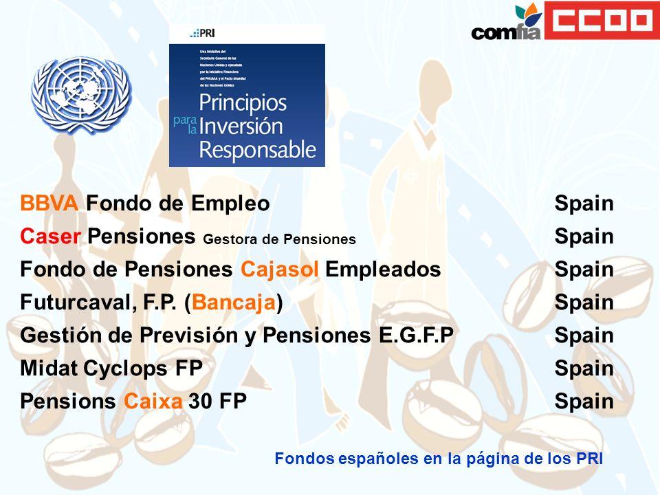 BBVA Fondo de Empleo Spain Caser Pensiones Gestora de Pensiones Spain Fondo de Pensiones Cajasol Empleados Spain Futurcaval, F.P. (Bancaja) Spain Gest