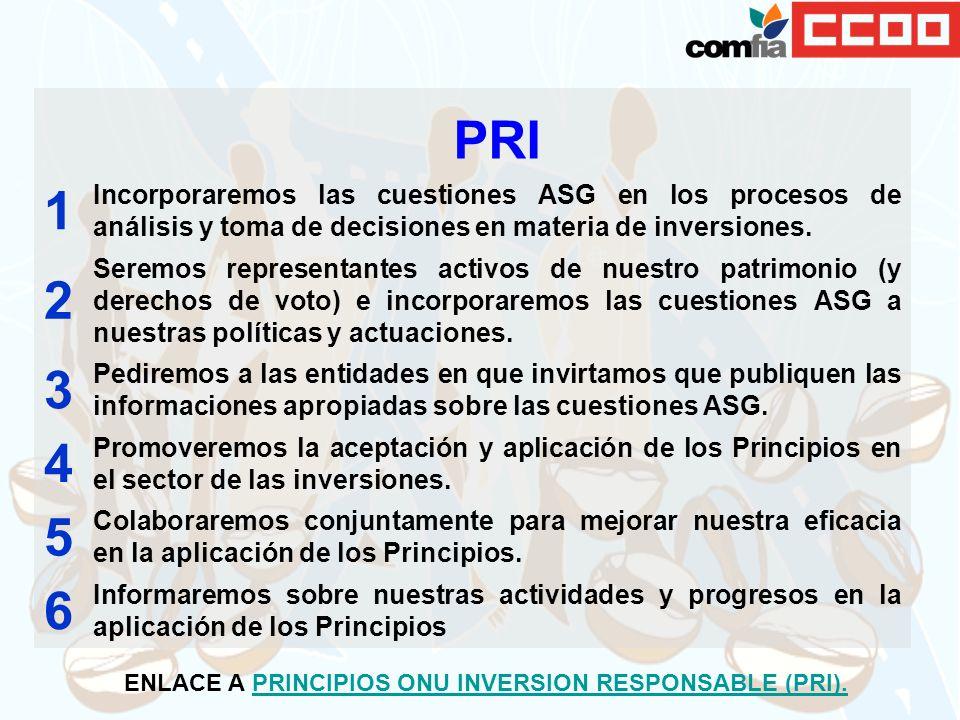 PRI 1 Incorporaremos las cuestiones ASG en los procesos de análisis y toma de decisiones en materia de inversiones. 2 Seremos representantes activos d