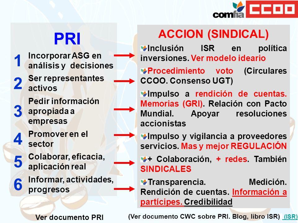 PRI 1 Incorporar ASG en análisis y decisiones 2 Ser representantes activos 3 Pedir información apropiada a empresas 4 Promover en el sector 5 Colabora
