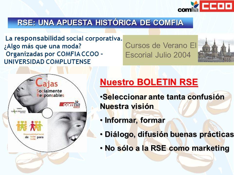 La responsabilidad social corporativa. ¿Algo más que una moda? Organizadas por COMFIA CCOO – UNIVERSIDAD COMPLUTENSE Cursos de Verano El Escorial Juli