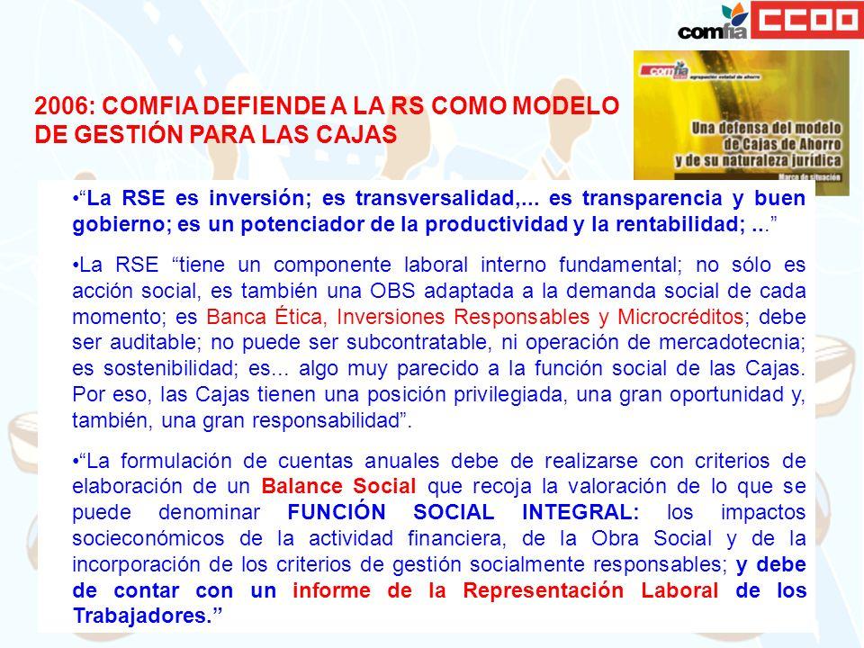 2006: COMFIA DEFIENDE A LA RS COMO MODELO DE GESTIÓN PARA LAS CAJAS La RSE es inversión; es transversalidad,... es transparencia y buen gobierno; es u