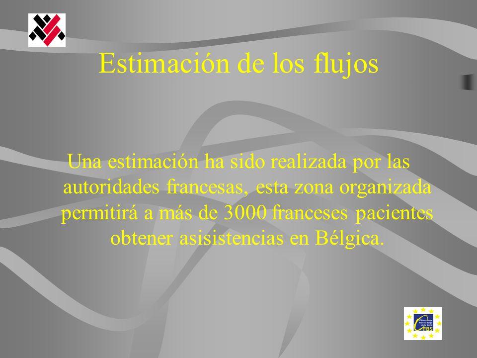 Estimación de los flujos Una estimación ha sido realizada por las autoridades francesas, esta zona organizada permitirá a más de 3000 franceses pacientes obtener asisistencias en Bélgica.