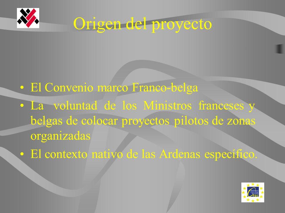 Origen del proyecto El Convenio marco Franco-belga La voluntad de los Ministros franceses y belgas de colocar proyectos pilotos de zonas organizadas El contexto nativo de las Ardenas específico.
