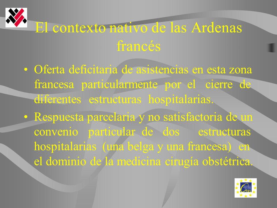 El contexto nativo de las Ardenas francés Oferta deficitaria de asistencias en esta zona francesa particularmente por el cierre de diferentes estructuras hospitalarias.