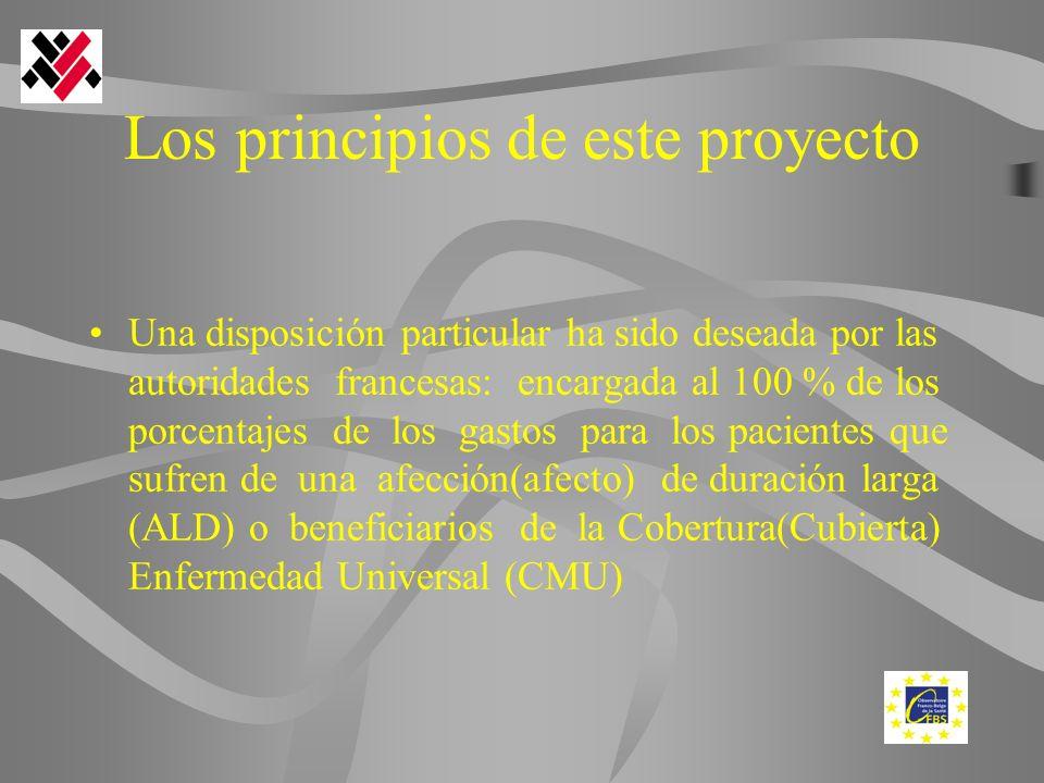 Los principios de este proyecto Una disposición particular ha sido deseada por las autoridades francesas: encargada al 100 % de los porcentajes de los gastos para los pacientes que sufren de una afección(afecto) de duración larga (ALD) o beneficiarios de la Cobertura(Cubierta) Enfermedad Universal (CMU)