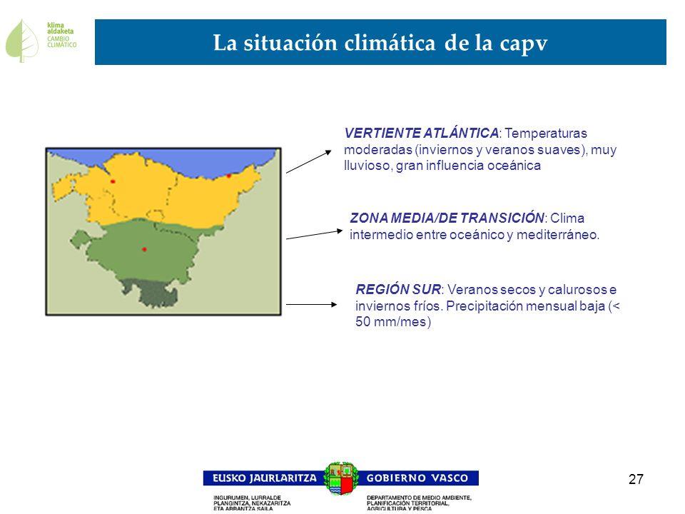 27 La situación climática de la capv VERTIENTE ATLÁNTICA: Temperaturas moderadas (inviernos y veranos suaves), muy lluvioso, gran influencia oceánica