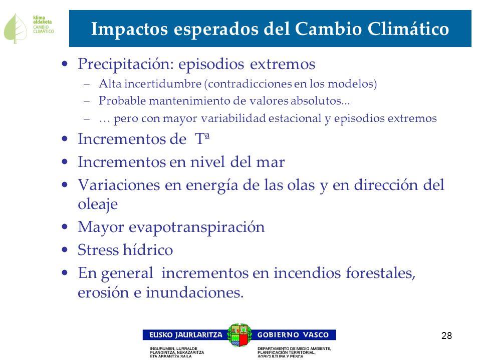 28 Impactos esperados del Cambio Climático Precipitación: episodios extremos –Alta incertidumbre (contradicciones en los modelos) –Probable mantenimie