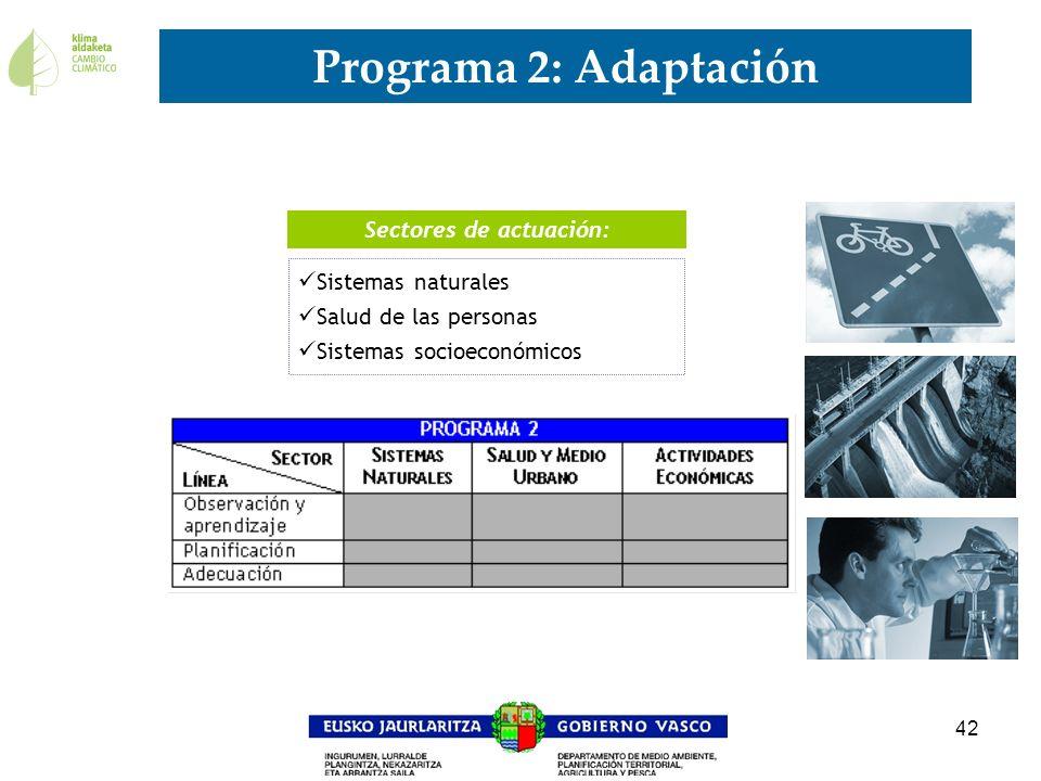 42 Programa 2: Adaptación 11 Sectores de actuación: Sistemas naturales Salud de las personas Sistemas socioeconómicos