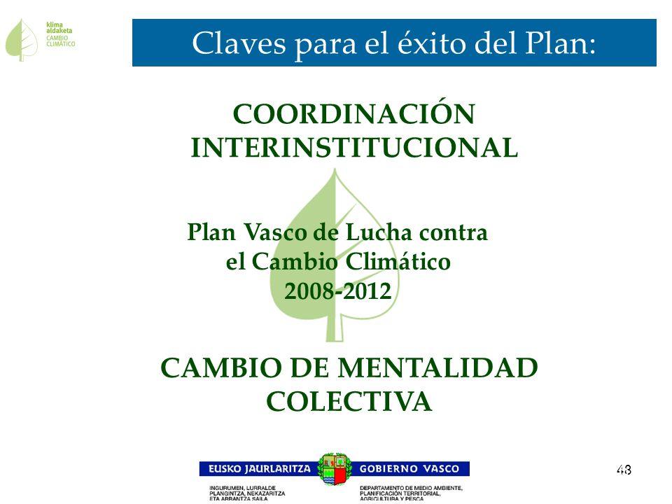 48 Claves para el éxito del Plan: 16 Plan Vasco de Lucha contra el Cambio Climático 2008-2012 CAMBIO DE MENTALIDAD COLECTIVA COORDINACIÓN INTERINSTITU