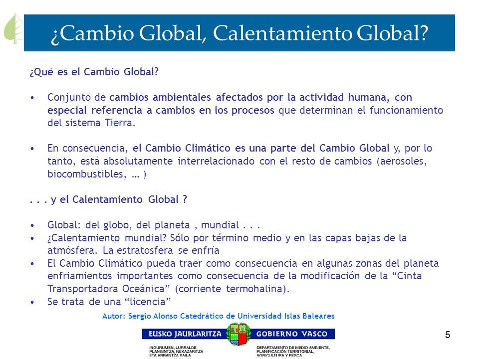 5 ¿Cambio Global, Calentamiento Global? ¿Qué es el Cambio Global? Conjunto de cambios ambientales afectados por la actividad humana, con especial refe