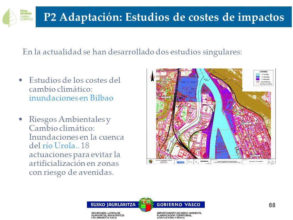 68 P2 Adaptación: Estudios de costes de impactos Estudios de los costes del cambio climático: inundaciones en Bilbao Riesgos Ambientales y Cambio clim