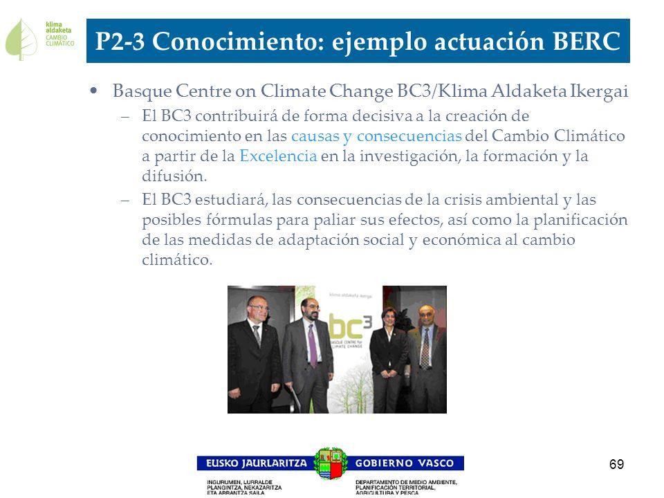 69 P2-3 Conocimiento: ejemplo actuación BERC Basque Centre on Climate Change BC3/Klima Aldaketa Ikergai –El BC3 contribuirá de forma decisiva a la cre