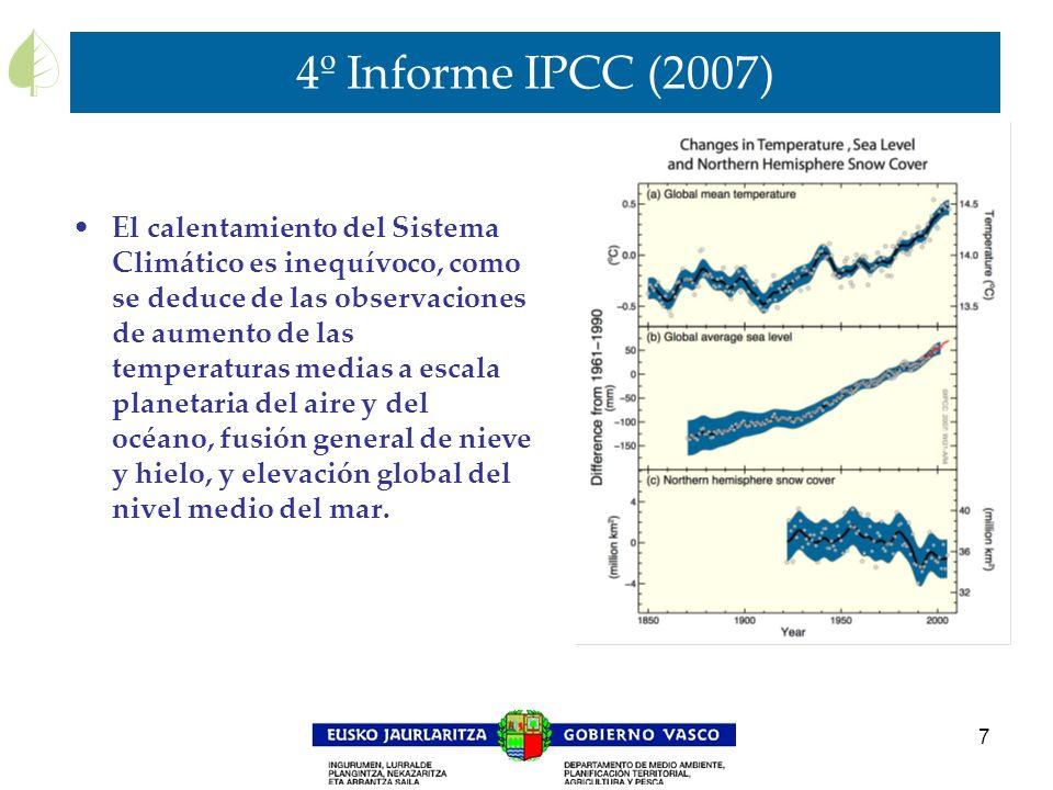 7 4º Informe IPCC (2007) El calentamiento del Sistema Climático es inequívoco, como se deduce de las observaciones de aumento de las temperaturas medi