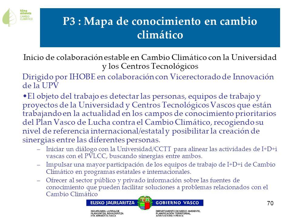 70 P3 : Mapa de conocimiento en cambio climático Inicio de colaboración estable en Cambio Climático con la Universidad y los Centros Tecnológicos Diri