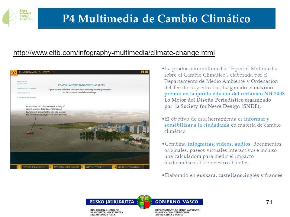 71 P4 Multimedia de Cambio Climático http://www.eitb.com/infography-multimedia/climate-change.html La producción multimedia