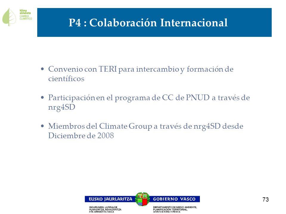 73 Convenio con TERI para intercambio y formación de científicos Participación en el programa de CC de PNUD a través de nrg4SD Miembros del Climate Gr