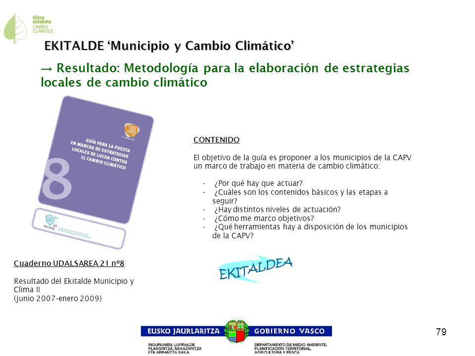 79 Resultado: Metodología para la elaboración de estrategias locales de cambio climático CONTENIDO El objetivo de la guía es proponer a los municipios