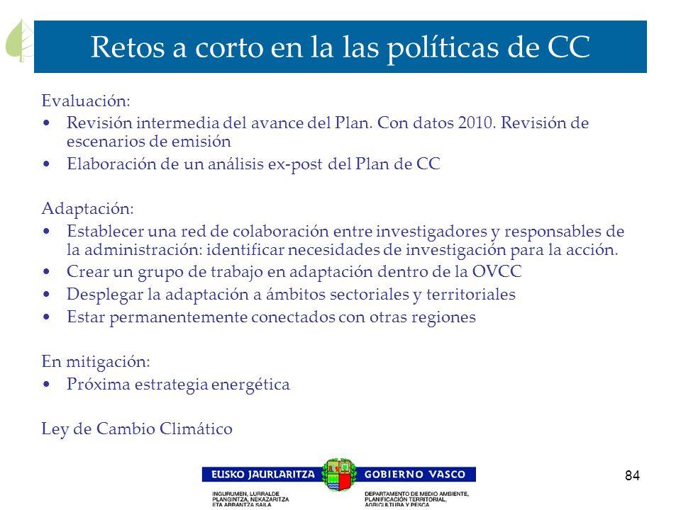 84 Retos a corto en la las políticas de CC Evaluación: Revisión intermedia del avance del Plan. Con datos 2010. Revisión de escenarios de emisión Elab