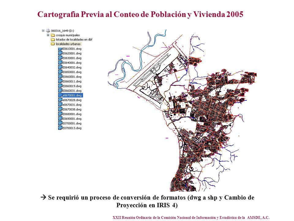 XXII Reunión Ordinaria de la Comisión Nacional de Información y Estadística de la AMSDE, A.C. Cartografìa Previa al Conteo de Población y Vivienda 200