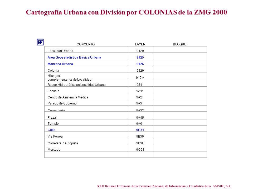 XXII Reunión Ordinaria de la Comisión Nacional de Información y Estadística de la AMSDE, A.C. Cartografía Urbana con División por COLONIAS de la ZMG 2