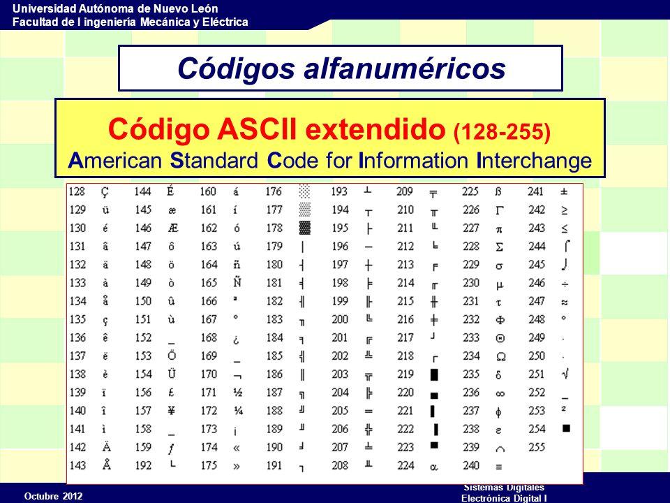 Octubre 2012 Sistemas Digitales Electrónica Digital I Universidad Autónoma de Nuevo León Facultad de I ingeniería Mecánica y Eléctrica Códigos alfanuméricos Código ASCII extendido (128-255) American Standard Code for Information Interchange