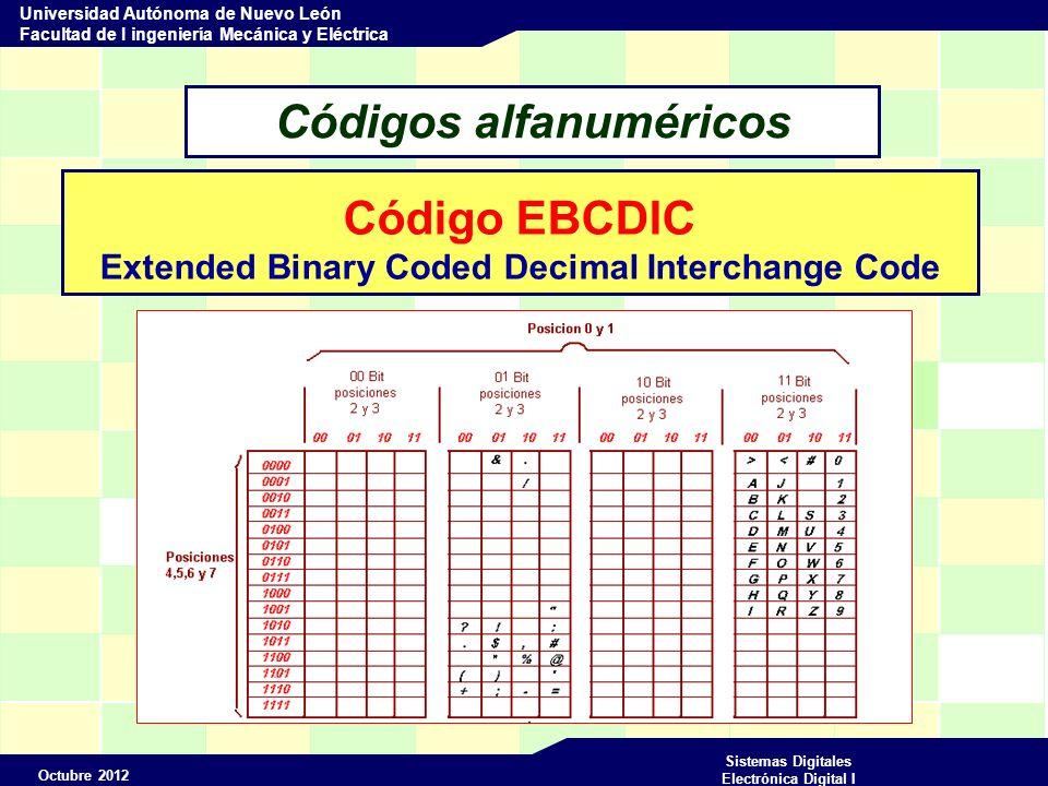 Octubre 2012 Sistemas Digitales Electrónica Digital I Universidad Autónoma de Nuevo León Facultad de I ingeniería Mecánica y Eléctrica Códigos alfanuméricos Código EBCDIC Extended Binary Coded Decimal Interchange Code