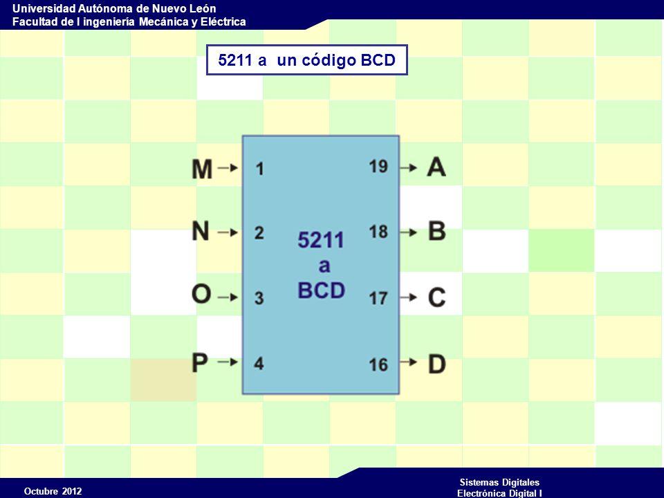 Octubre 2012 Sistemas Digitales Electrónica Digital I Universidad Autónoma de Nuevo León Facultad de I ingeniería Mecánica y Eléctrica 5211 a un código BCD